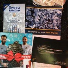 Coleccionismo deportivo: LOTE DOCUMENTOS VARIADOS REAL MADRID PUBLICIDAD REXONA MARIONNAUD PRODUCTOS OFICIALES. Lote 138305434