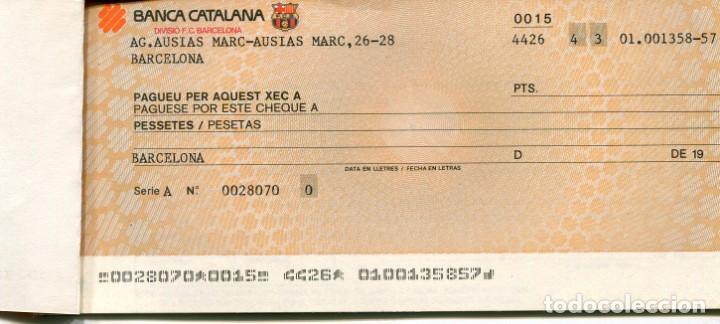 Coleccionismo deportivo: DIVISIÓ F.C. BARCELONA-BANCA CATALANA-TALONARIO CON 6 CHEQUES- AÑO 1985- RARO - Foto 2 - 142408282