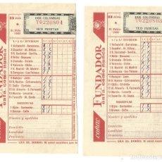 Coleccionismo deportivo: RESGUARDO QUINIELA 23 JORNADA 1960 DOS RESGUARDOS SELLO CORRELATIVO COÑAC FUNDADOR. Lote 143593242