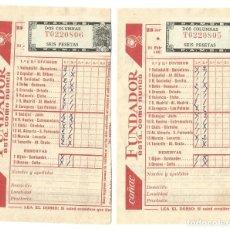Coleccionismo deportivo: RESGUARDO QUINIELA 23 JORNADA FEBRERO 1960 DOS RESGUARDOS SELLO CORRELATIVO COÑAC FUNDADOR. Lote 143593958