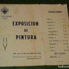 Coleccionismo deportivo: CENTRE EXCURSIONISTA LOS AZULES (ELS BLAUS) SARRIA - FOLLETO EXPOSICION DE PINTURA 1948. Lote 144793590