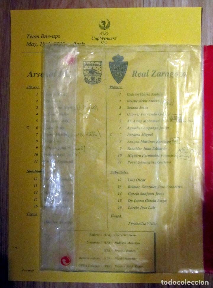 COPIA HOJA PRENSA FINAL REAL ZARAGOZA ARSENAL RECOPA 1995 UEFA WINNER´S CUP (Coleccionismo Deportivo - Documentos de Deportes - Otros)