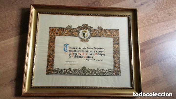 TITULO DE PRESIDENTE DE HONOR A PERPETUIDAD DEL BURGOS CLUB DE FUTBOL (Coleccionismo Deportivo - Documentos de Deportes - Otros)