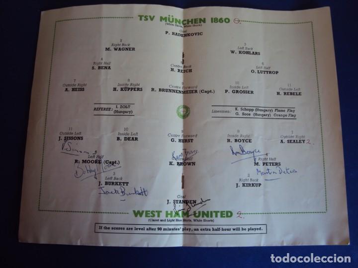 Coleccionismo deportivo: (F-190171)PROGRAMA OFICIAL EUROPEAN WINNERS CUP FINAL.TSV MUNCHEN - AUTOGRAFOS WEST HAM UNITED 1965 - Foto 6 - 147895558