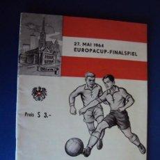 Coleccionismo deportivo: (F-190172)PROGRAMA OFICIAL.EUROPA CUP-FINAL F.C.INTERNAZIONALE MILANO- REAL MADRID. 27.05. 1964. Lote 147899162