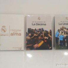 Coleccionismo deportivo: 3 DVD NUEVOS EN BLISTER- EN EL CORAZON DE LA DECIMA Y LA UNDECIMA Y HISTORIAS CON ALMA- REAL MADRID. Lote 153107516