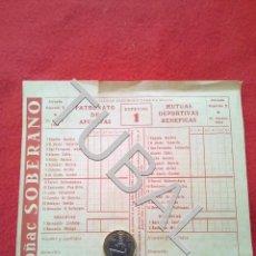 Coleccionismo deportivo: TUBAL 1958 RESGUARDO DE QUINIELA ANTIGUO JORNADA ESPECIAL 1 . Lote 153390606
