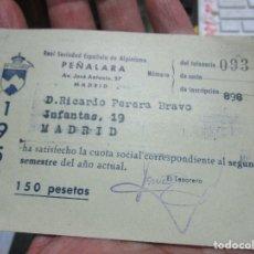Coleccionismo deportivo: ABONO CARNET DE ALPINISMO PEÑALARA MADRID 1957 RICARDO PERERA JOYERO . Lote 154134110