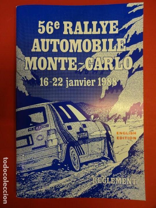 RALLYE MONTE-CARLO. REGLAMENTO ORIGINAL EDICIÓN 1988. (Coleccionismo Deportivo - Documentos de Deportes - Otros)
