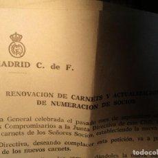 Coleccionismo deportivo: REAL MADRID CLUB FUTBOL DOCUMENTO ANTIGUO RENOVACION CARNETS DE SOCIO. Lote 154219242