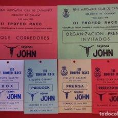 Coleccionismo deportivo: III TROFEO RACC. CIRCUITO CALAFAT JUNIO 1979. LOTE ACREDITACIONES ORIGINALES. Lote 154298850