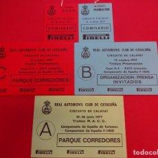 Coleccionismo deportivo: TROFEO RACC. CIRCUITO CALAFAT JUNIO 1977. LOTE ACREDITACIONES ORIGINALES. Lote 154305482