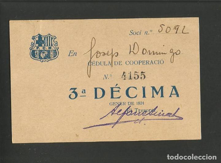 FUTBOL CLUB BARCELONA-CEDULA DE COOPERACIO-GENER ANY 1924-(57.557) (Coleccionismo Deportivo - Documentos de Deportes - Otros)