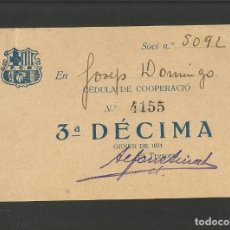 Coleccionismo deportivo: FUTBOL CLUB BARCELONA-CEDULA DE COOPERACIO-GENER ANY 1924-(57.557). Lote 154314954
