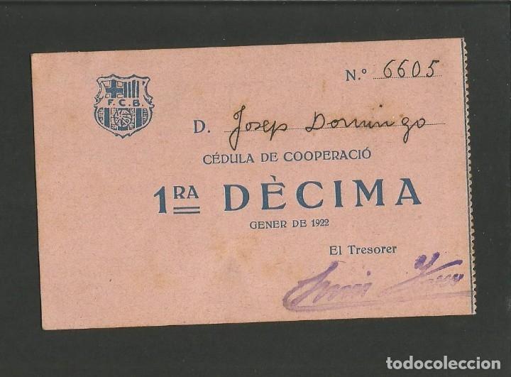 FUTBOL CLUB BARCELONA-CEDULA DE COOPERACIO-GENER ANY 1922-(57.558) (Coleccionismo Deportivo - Documentos de Deportes - Otros)
