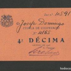 Coleccionismo deportivo: FUTBOL CLUB BARCELONA-CEDULA DE COOPERACIO-GENER ANY 1925-(57.559). Lote 154315170