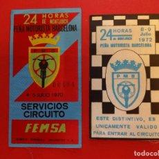 Coleccionismo deportivo: 24 HORAS DE MONTJUICH. AÑOS 1970S. 2 PARCHES DE TELA O ACREDITACIONES ORIGINALES. Lote 154376126