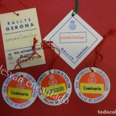 Coleccionismo deportivo: RACC. RALLYE DE GERONA. LOTE DE ACREDITACIONES ORIGINALES. Lote 154976478