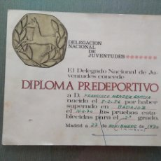 Coleccionismo deportivo: DIPLOMA PREDEPORTIVO- DELEGACION NACIONAL DE JUVENTUDES. Lote 155783142
