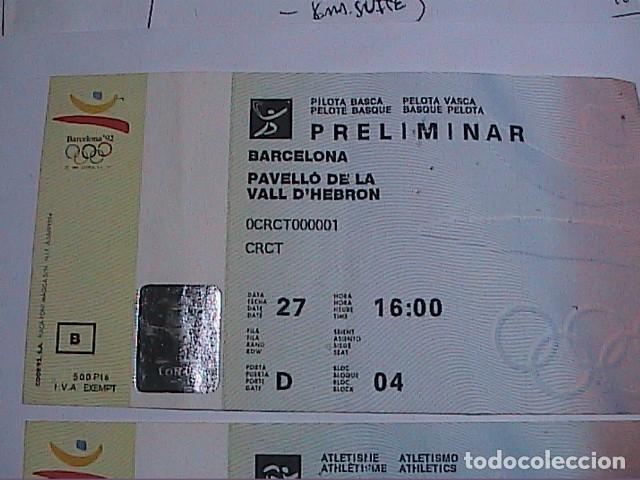 Coleccionismo deportivo: 2 ENTRADAS PRELIMINAR PELOTA VASCA Y PRELIMINAR ATLETISMO. OLIMPIADAS DE BARCELONA 92. FNMT. - Foto 2 - 155858750