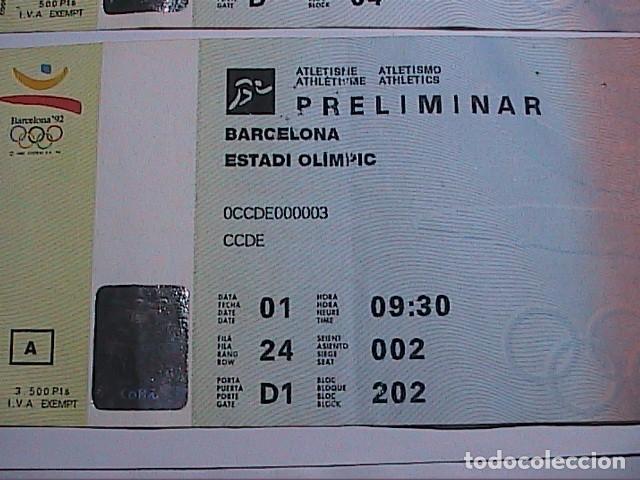 Coleccionismo deportivo: 2 ENTRADAS PRELIMINAR PELOTA VASCA Y PRELIMINAR ATLETISMO. OLIMPIADAS DE BARCELONA 92. FNMT. - Foto 3 - 155858750