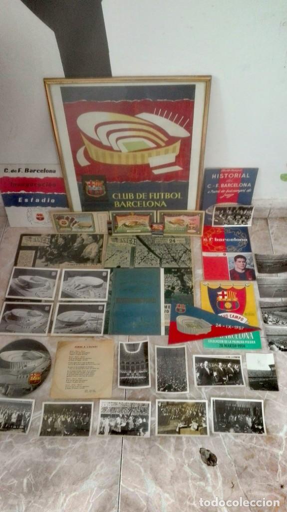 ESPECTACULAR LOTE CON MOTIVO DE LA INAUGURACIÓN DEL CAMP NOU EN 1957 (Coleccionismo Deportivo - Documentos de Deportes - Otros)