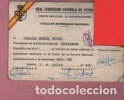 CARNET DE LA FEDERACIÓN ESPAÑOLA D FUTBOL - TITULO D ENTRENADOR MADRID 1970 REGIONAL CATALANA (Coleccionismo Deportivo - Documentos de Deportes - Otros)