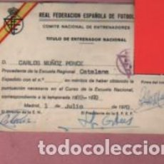 Coleccionismo deportivo: CARNET DE LA FEDERACIÓN ESPAÑOLA D FUTBOL - TITULO D ENTRENADOR MADRID 1970 REGIONAL CATALANA. Lote 156642134