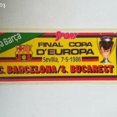 Coleccionismo deportivo: ADHESIVO FINAL COPA DE EUROPA F. C. BARCELONA VS STEAUA BUCAREST. Lote 156909410