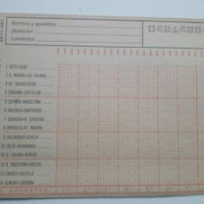 Coleccionismo deportivo: ANTIGUO BOLETO DE QUINIELA. AÑO 1981. JORNADA 13. SIN USAR. CON RESGUARDO Y PAPEL DE CALCA.. Lote 156992632