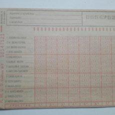 Coleccionismo deportivo: ANTIGUO BOLETO DE QUINIELA. AÑO 1981. JORNADA 6. SIN USAR. CON RESGUARDO Y PAPEL DE CALCA.. Lote 156992717