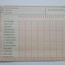 Coleccionismo deportivo: ANTIGUO BOLETO DE QUINIELA. AÑO 1982. JORNADA 28. SIN USAR. CON RESGUARDO Y PAPEL DE CALCA.. Lote 156992826