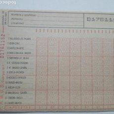 Coleccionismo deportivo: ANTIGUO BOLETO DE QUINIELA. AÑO 1981. JORNADA 16. SIN USAR. CON RESGUARDO Y PAPEL DE CALCA.. Lote 156992938