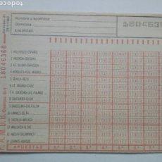 Coleccionismo deportivo: ANTIGUO BOLETO DE QUINIELA. AÑO 1982. JORNADA 21. SIN USAR. CON RESGUARDO Y PAPEL DE CALCA.. Lote 156993040