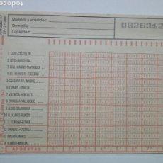 Coleccionismo deportivo: ANTIGUO BOLETO DE QUINIELA. AÑO 1981. JORNADA 17. SIN USAR. CON RESGUARDO Y PAPEL DE CALCA.. Lote 156993124