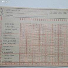 Coleccionismo deportivo: ANTIGUO BOLETO DE QUINIELA. AÑO 1982. JORNADA 22. SIN USAR. CON RESGUARDO Y PAPEL DE CALCA.. Lote 156993201