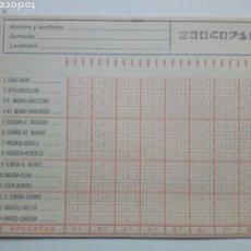 Coleccionismo deportivo: ANTIGUO BOLETO DE QUINIELA. AÑO 1982. JORNADA 33. SIN USAR. CON RESGUARDO Y PAPEL DE CALCA.. Lote 156993262