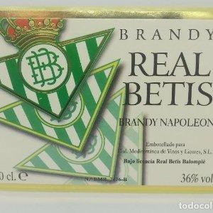 Real Betis. Brandy Napoleón. Cial. Mediterránea de vinos y licores S.L.. Etiqueta impecable