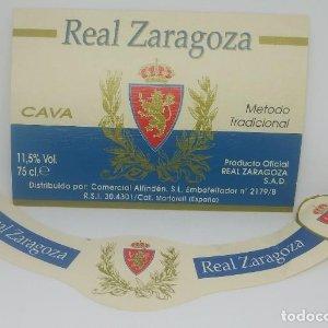 Real Zaragoza. Cava. Producto oficila Real Zaragoza. Etiqueta