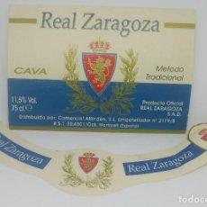 Coleccionismo deportivo: REAL ZARAGOZA. CAVA. PRODUCTO OFICILA REAL ZARAGOZA. ETIQUETA. Lote 159030830