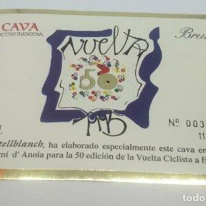 Vuelta ciclista a España 50 aniversario. 1995. Castellbanch. Numerada. Etiqueta 003925