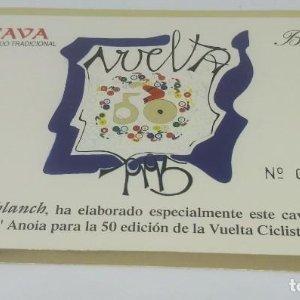 Vuelta ciclista a España 50 aniversario. 1995. Castellbanch. Numerada. Etiqueta 004112