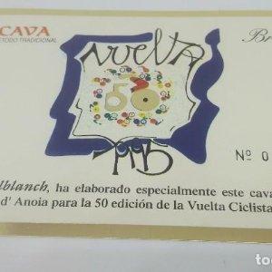 Vuelta ciclista a España 50 aniversario. 1995. Castellbanch. Numerada. Etiqueta 004387