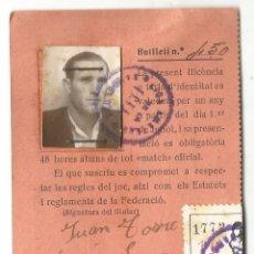 Coleccionismo deportivo: LICENCIA JUGADOR TEMPORADA 1935 36 FEDERACION CATALANA DE FUTBOL DE FUTBOL CLUB CROS 1935. Lote 43264013