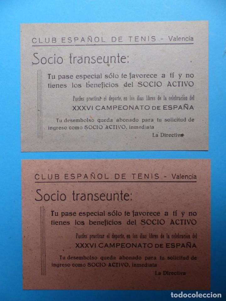 DOS PEQUEÑOS CARTELES - PASE ESPECIAL FAVORECE AL SOCIO ACTIVO - CLUB ESPAÑOL DE TENIS - AÑO 1949 (Coleccionismo Deportivo - Documentos de Deportes - Otros)
