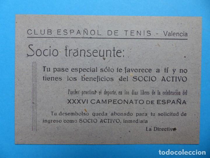 Coleccionismo deportivo: DOS PEQUEÑOS CARTELES - PASE ESPECIAL FAVORECE AL SOCIO ACTIVO - CLUB ESPAÑOL DE TENIS - AÑO 1949 - Foto 2 - 160094850