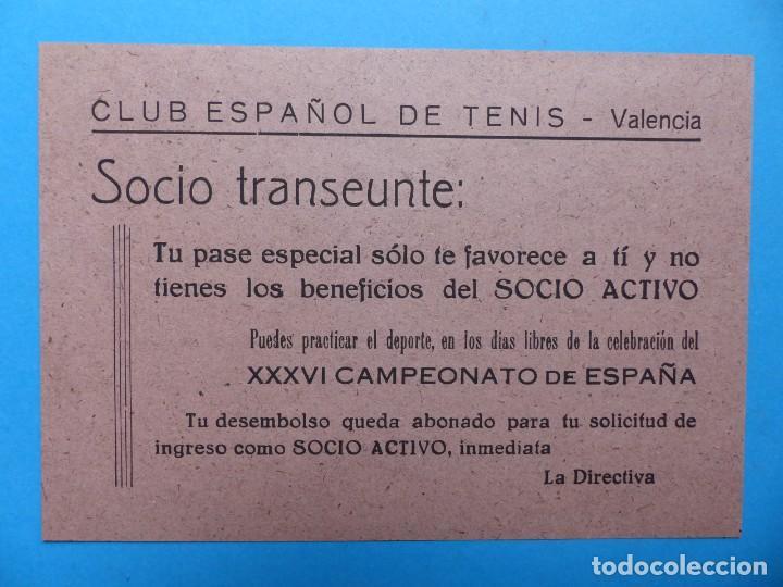 Coleccionismo deportivo: DOS PEQUEÑOS CARTELES - PASE ESPECIAL FAVORECE AL SOCIO ACTIVO - CLUB ESPAÑOL DE TENIS - AÑO 1949 - Foto 3 - 160094850