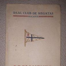Coleccionismo deportivo: REGLAMENTO DEL REAL CLUB DE REGATAS DE ALICANTE 1926. Lote 160308882
