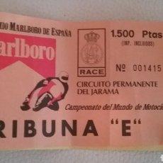 Coleccionismo deportivo - DOS ENTRADAS al CIRCUITO del JARAMA para Campeonato del mundo de motociclismo, abril 1988. - 164763584