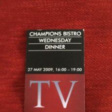 Coleccionismo deportivo: ENTRADA TICKET BISTRO FINAL UEFA CHAMPIONS LEAGUE BARCELONA MANCHESTER UNITED 2009 ROMA. Lote 165107050